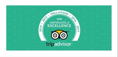 """-Trip Advisor Certificate Of Excellence 2019-2018: """"Hall of Fame""""."""